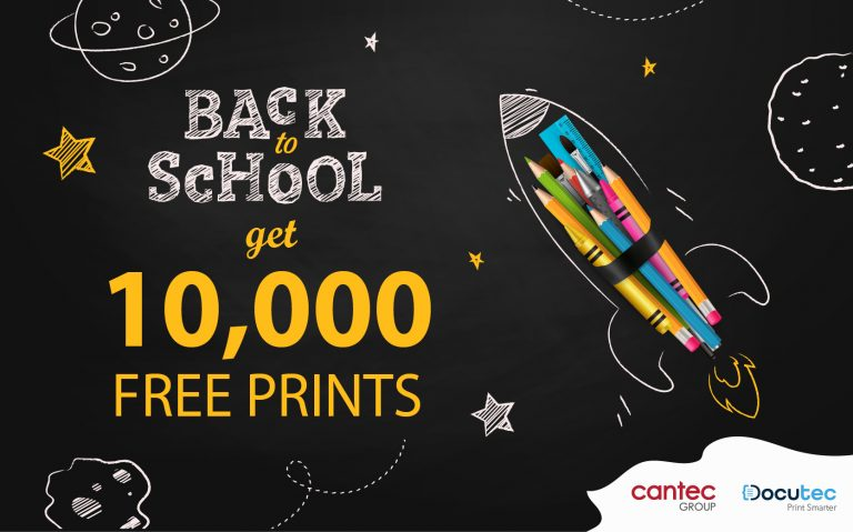 """Rocket made of pencils shooting through a black night sky with writing saying """"Back to school get 10,000 free prints)"""